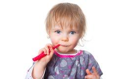 brushing teeth royaltyfria foton