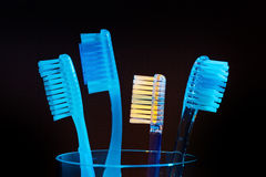 Brushing teeth toothbrushes Stock Image