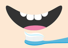 Brushing teeth Toothrush with toothpaste Mouth with tongue and healthy tooth. Smiling face. Body part. Cute cartoon character. Ora. L dental hygiene Brush paste Royalty Free Stock Photography