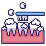 Brushing teeth LineColor royalty free illustration