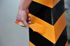 Brushing traffic signs stock images