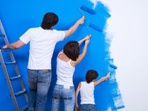 Brushing the wall by people Stock Photography