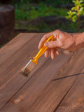 Brushing wood with brush. Painting and wood maintenance oil-wax. Stock Images