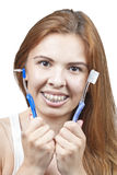 Brushing your teeth with braces Royalty Free Stock Images