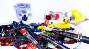 Brushs with tubes of paint an palette 2 Royalty Free Stock Images