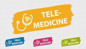 Brushstroke Banner Telemedicine - Colorful Vector Illustration - Isolated On Transparent Background stock illustration