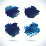 Brushstroke banners. Ink blue watercolor spot Royalty Free Stock Image