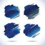 Brushstroke banners. Ink blue watercolor spot Royalty Free Stock Photo