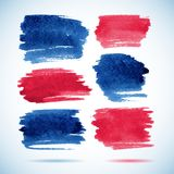 Brushstroke banners.Ink red and blue watercolor Stock Images