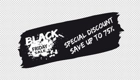 Brushstroke Black Friday Sale Banner - Vector Illustration - Isolated On Transparent Background vector illustration