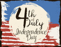 Brushstroke Design of U.S.A. Independence Day Reminder, Vector Illustration Stock Images