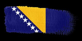 Brushstroke Flag Bosnia and Herzegovina Stock Photo
