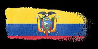 Brushstroke Flag Ecuador. Brushstroke-flag made to the computer Stock Image