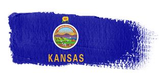 Brushstroke Flag Kansas. Brushstroke-flag made to the computer Royalty Free Stock Images