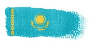 Brushstroke Flag Kazakhstan Stock Photo