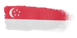 Brushstroke Flag Singapore. Brushstroke-flag made to the computer Stock Photo