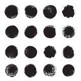Brushstroke grunge circles, spray paint round design elements Royalty Free Stock Photo
