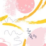 Brushstroke hand drawn pink yellow pattern. Abstract creative templates, cards, color covers set. Geometric design. Liquids, shapes. Trendy vector texture Royalty Free Stock Image