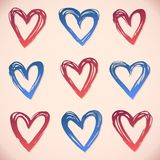 Brushstroke hearts. Set ink strokes Royalty Free Stock Images