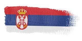 Brushstroke-Markierungsfahne Serbien Lizenzfreie Stockfotos