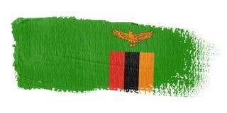 Brushstroke-Markierungsfahnen-Sambia Lizenzfreies Stockfoto