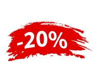 Brushstroke `20% off` Red Set Offer Discount Tag, Stock vector illustration. Eps 10 Stock Photo
