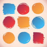 Brushstroke round and square backgrounds. Stock Image