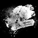 Brushstroke white01. Smudge and smear a white brush on black background, illustration clip-art Stock Images