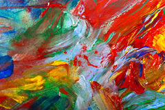 Brushstrokes with acrylic paints on canvas Royalty Free Stock Photos