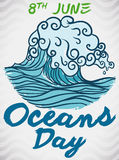 Brushstrokes Design with Wave and Greeting Text for Oceans Day, Vector Illustration. Poster in hand drawn style and brushstrokes with a wave to celebrate World Stock Image