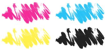 Brushstrokes in four colors. Illustration Stock Images