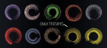 Набор brushstrokes вектора Мел и уголь Пятна краски Текстура Grunge Покрашенные круги в форме солнечного света бесплатная иллюстрация