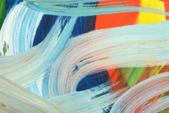 Brushstrokes of paint. Abstract art background. Oil painting on canvas. Multicolored bright texture. Fragment of artwork royalty free stock photography
