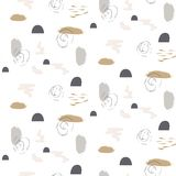 Brushstrokes pastel shapes paint seamless vector gray gold pattern. Acrylic brush natural color smears artistic abstract background Royalty Free Stock Photography