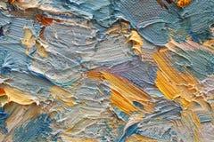 Brushstrokes variopinti in olio su tela di canapa Immagini Stock