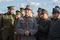 Brusilovsky-Durchbruch, das historische Festival der erste Weltkrieg in Moskau, Wiederholung, am 1. Oktober 2016 Soldaten von lizenzfreies stockfoto