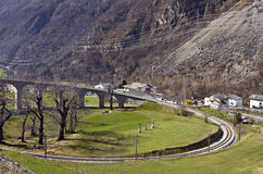 Brusio spiral viaduct at Swiss Alps Royalty Free Stock Photo