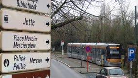 BRUSSEL, BELGIË - JANUARI 2016: Tramspoor Stock Foto's