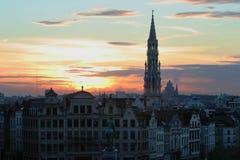 Brussel bij zonsondergang. Royalty-vrije Stock Afbeelding