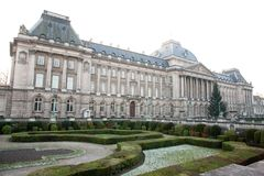 Brussel. Een koninklijk paleis Royalty-vrije Stock Afbeeldingen