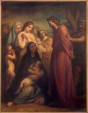 Brussel - Jesus ontmoet de vrouwen van Jeruzalem door Jean Baptiste van Eycken (1809 - 1853) in Notre Dame de la Chapelle Stock Foto's