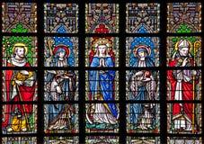 Brussel - Maagdelijke Mary en heiligen van ruit in gotische kerk Notre Dame du Sablon stock afbeelding