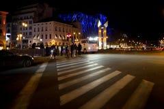 BRUSSEL - NOVEMBER 25, 2017: De relpolitie die orde in Brussel na een vreedzaam protest herstellen tegen de slavernij werd hevig stock foto's