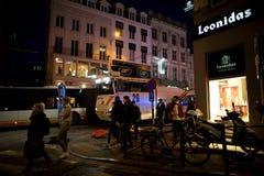 BRUSSEL - NOVEMBER 25, 2017: De relpolitie die orde in Brussel na een vreedzaam protest herstellen tegen de slavernij werd hevig royalty-vrije stock foto