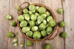 Brussel sprout in a basket Royalty Free Stock Photos