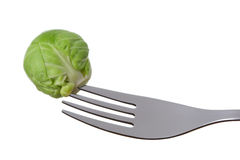 Brussel sprout on a fork Royalty Free Stock Photography