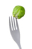 Brussel sprout on a fork Stock Image