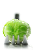 Brussel sprout on fork Royalty Free Stock Images