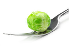 Brussel sprout on fork Royalty Free Stock Photo