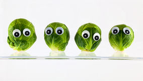 Brussel sprout heads. Fresh Brussel sprout heads with eyes stock photography